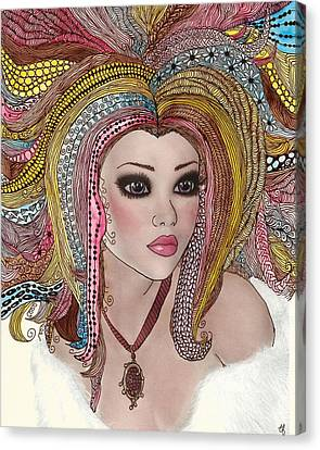 Girl With The Rainbow Hair Canvas Print by Terry Fleckney