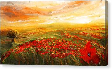 Glowing Rhapsody - Poppies Impressionist Paintings Canvas Print by Lourry Legarde