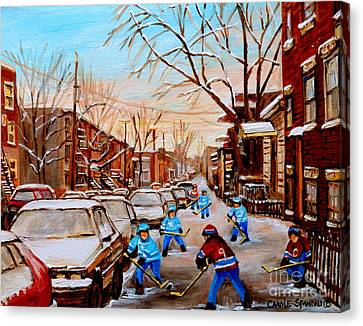 Hockey Art- Verdun Street Scene - Paintings Of Montreal Canvas Print by Carole Spandau