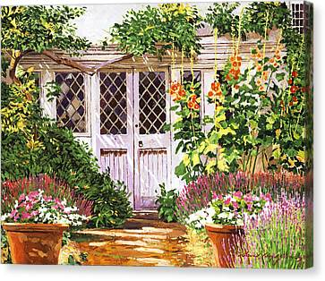 Hollyhock Gardens Canvas Print by David Lloyd Glover