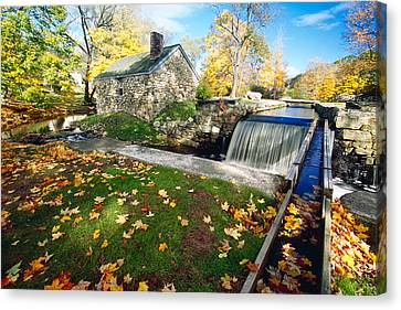 Hut And Creek Canvas Print by George Oze