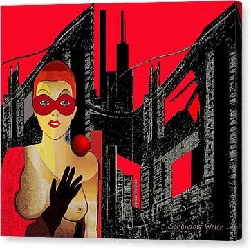 014 - In  Red   City Darkness Canvas Print by Irmgard Schoendorf Welch