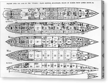 Inquiry In The Loss Of The Titanic Cross Sections Of The Ship  Canvas Print by English School