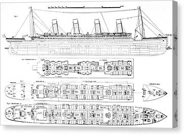 Inquiry Into The Loss Of The Titanic Cross Sections Of The Ship  Canvas Print by English School