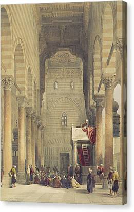 Interior Of The Mosque Of The Metwalys Canvas Print by David Roberts