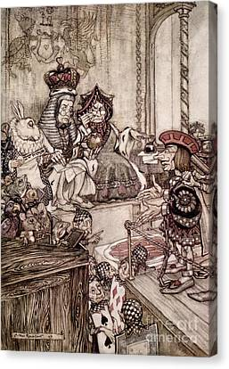 Knave Before The King And Queen Of Hearts Illustration To Alice S Adventures In Wonderland Canvas Print by Arthur Rackham