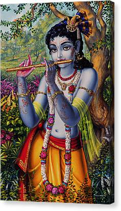Krishna With Flute  Canvas Print by Vrindavan Das
