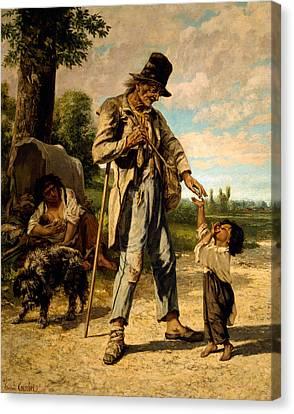 L Aumone D Un Mendiant Canvas Print by Gustave Courbet