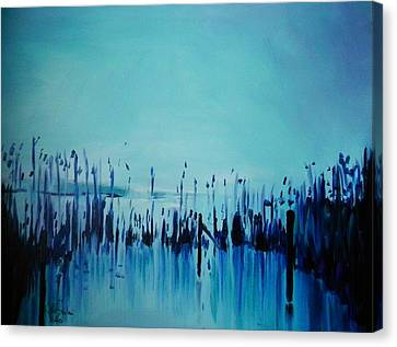 Lake With Reeds In Blue Canvas Print by Jolanta Shiloni