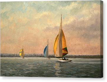 Late Finish Canvas Print by Vic Trevett