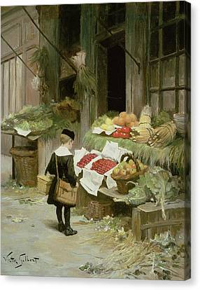 Little Boy At The Market Canvas Print by Victor Gabriel Gilbert
