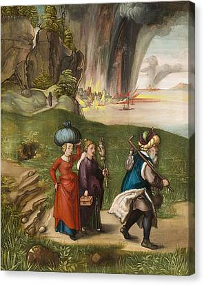 Lot And His Daughters Canvas Print by Albrecht Durer