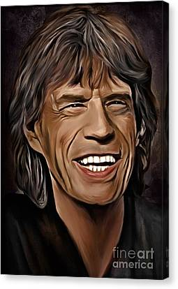 Mick Jagger Poster Canvas Print featuring the painting  Lucky In Love by Andrzej Szczerski
