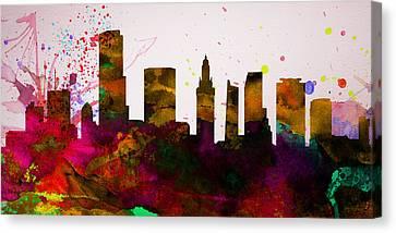 Miami City Skyline Canvas Print by Naxart Studio