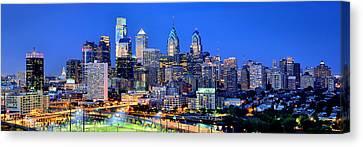 Philadelphia Skyline At Night Evening Panorama Canvas Print by Jon Holiday