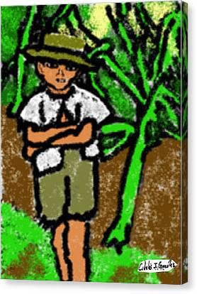 Puerto Rican Boy In Sugarcane Field Canvas Print by Cibeles Gonzalez
