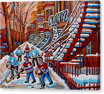 Red Staircases -paintings Of Verdun Montreal City Scene - Hockey Art - Winter Scenes  Canvas Print by Carole Spandau