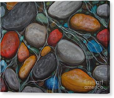 River -stones- Painting-stones 1 Canvas Print by Beverly Livingstone