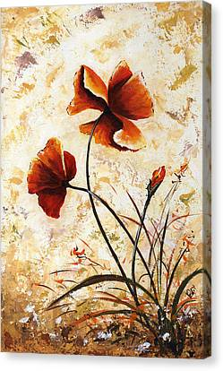 Rust Poppies 024 Canvas Print by Edit Voros