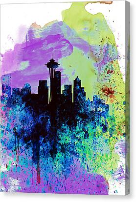 Seattle Watercolor Skyline 1 Canvas Print by Naxart Studio