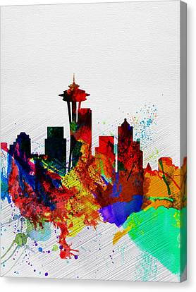 Seattle Watercolor Skyline 2 Canvas Print by Naxart Studio