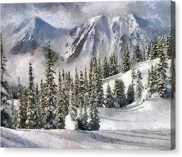 Snow In The Mountains Canvas Print by Georgi Dimitrov