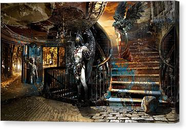 Stairway To Heaven Vs. Stairwell To Hell Canvas Print by George Grie