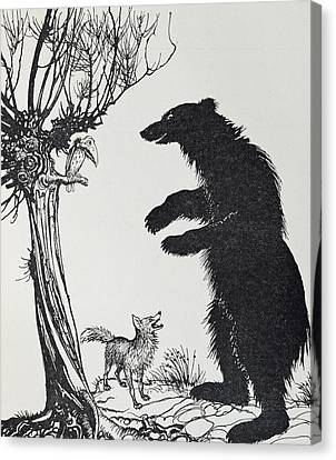 The Bear And The Fox Canvas Print by Arthur Rackham