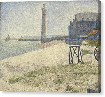 The Lighthouse At Honfleur Canvas Print by Georges Pierre Seurat