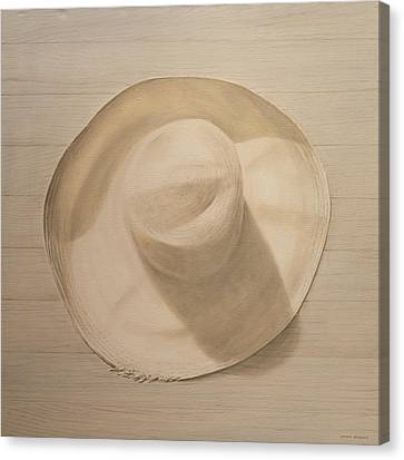 Travelling Hat On Dusty Table Canvas Print by Lincoln Seligman