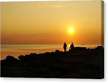Two At Sunset Canvas Print by Gynt