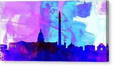 Washington Dc City Skyline Canvas Print by Naxart Studio