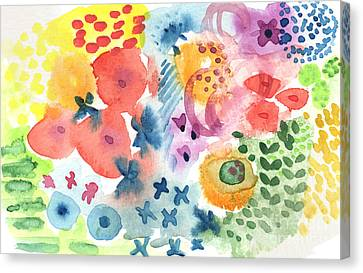 Watercolor Garden Canvas Print by Linda Woods