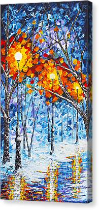 Silence Winter Night Light Reflections Original Palette Knife Painting Canvas Print by Georgeta Blanaru