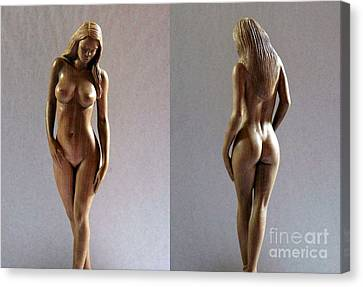 Wood Sculpture Of Naked Woman Canvas Print by Carlos Baez Barrueto
