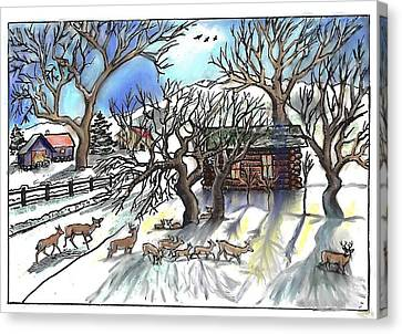 Wyoming Winter Street Scene Canvas Print by Dawn Senior-Trask
