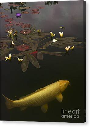 0212 Yellow Koi Canvas Print by Lawrence Costales
