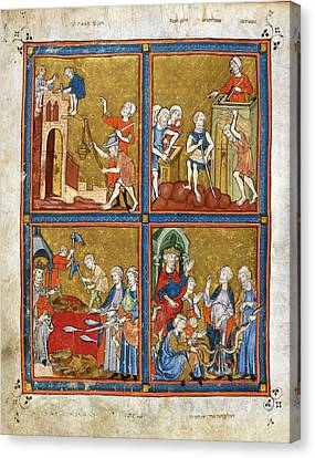 14th Century Religious Manuscript Canvas Print by British Library