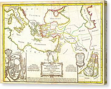 1771 Bonne Map Of The New Testament Lands W Holy Land And Jerusalem Geographicus Newtestament Bonne  Canvas Print by MotionAge Designs