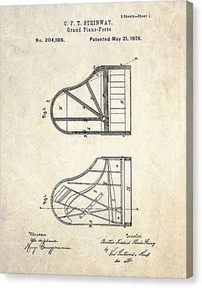 1878 Steinway Grand Piano Forte Patent Art S. 1 Canvas Print by Gary Bodnar