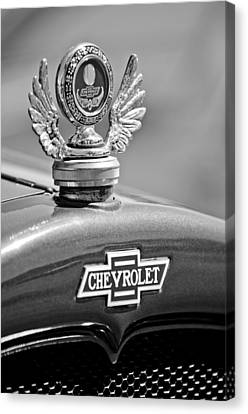 1928 Chevrolet Stake Bed Pickup Hood Ornament Canvas Print by Jill Reger