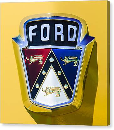 1950 Ford Custom Deluxe Station Wagon Emblem Canvas Print by Jill Reger