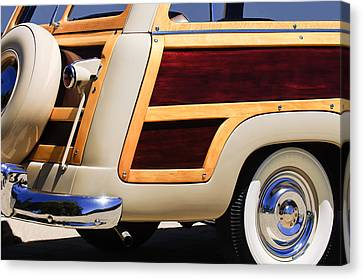 1950 Ford Custom Deluxe Station Wagon Rear End - Woodie Canvas Print by Jill Reger
