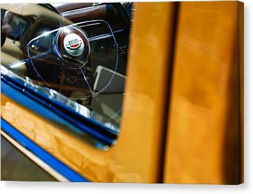 1950 Ford Custom Deluxe Woodie Station Wagon Steering Wheel Emblem Canvas Print by Jill Reger