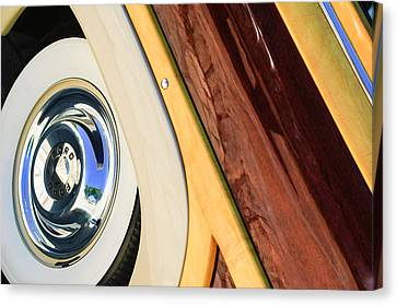 1950 Ford Custom Deluxe Woodie Station Wagon Wheel Canvas Print by Jill Reger