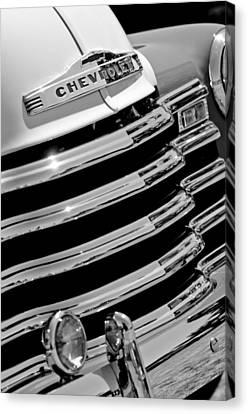 1956 Chevrolet 3100 Pickup Truck Grille Emblem Canvas Print by Jill Reger