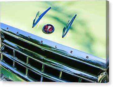 1956 Hudson Rambler Station Wagon Grille Emblem - Hood Ornament Canvas Print by Jill Reger