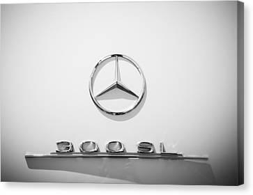 1961 Mercedes Benz 300sl Roadster Emblem Canvas Print by Jill Reger