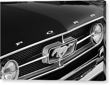 1965 Ford Mustang Grille Emblem Canvas Print by Jill Reger