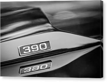 1969 Ford Mustang Mach 1 390 Hood Emblem Canvas Print by Jill Reger
